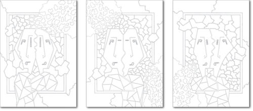 DISEGNO ORIGINALE PER L'OPERA / ORIGINAL DRAWING FOR PAINTING / anima gemella - twin soul / china su carta - ink on paper / TRITTICO 70 x 50 CAD - 2010