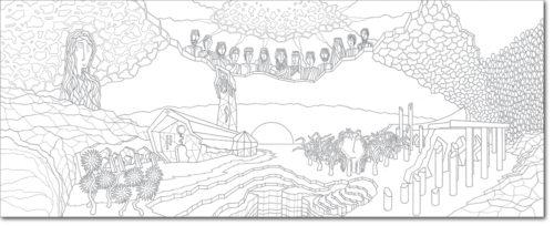 DISEGNO ORIGINALE PER L'OPERA / ORIGINAL DRAWING FOR PAINTING / infinita storia d'amore - endless love story / china su carta - ink on paper / 60 x 150 - 2010
