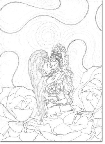 DISEGNO ORIGINALE PER L'OPERA / ORIGINAL DRAWING FOR PAINTING / nemesi della sposa mancata - nemesis of the spinster / matita su carta - pencil on paper / 50 x 36 - 2012