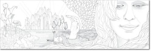 DISEGNO ORIGINALE PER L'OPERA / ORIGINAL DRAWING FOR PAINTING / alessia nel futuro delle meraviglie - alessia in the future of wonders / matita su carta - pencil on paper / 40 x 120 - 2016