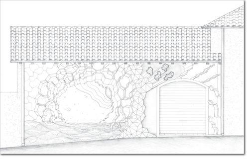 DISEGNO ORIGINALE PER L'OPERA / ORIGINAL DRAWING FOR PAINTING / bozzetto per murale - sketch for murales / matita su carta - pencil on paper / 57 x 90 - 2016