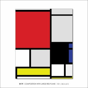 MONDRIAN B119 COMPOSITION WITH LARGE RED PLANE 1921 V4 FRANCESCO VISALLI