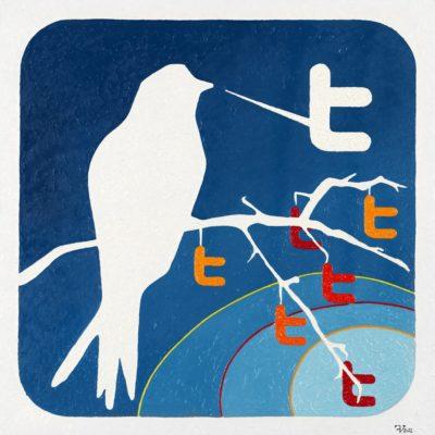 50 twittering / olio su lino - oil on linen / 50 x 50 - 2012 / codice - code 45