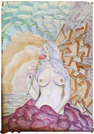 francesco-visalli_55_Eater_Matita su carta dipinto con alimenti_A3