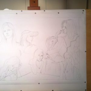 francesco visalli Ritratto di donna first step drawing