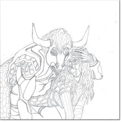 DISEGNO ORIGINALE PER L'OPERA / ORIGINAL DRAWING FOR PAINTING / eros 8 (minotauro) / matita su carta - pencil on paper / 40 x 40 - 2012