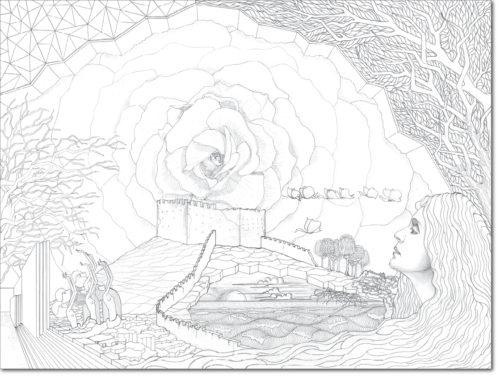 DISEGNO ORIGINALE PER L'OPERA / ORIGINAL DRAWING FOR PAINTING / asolo (rinascita - rebirth) / matita su carta - pencil on paper / 75 x 100 - 2016