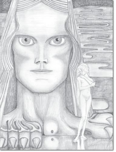 """PROGETTO - PROJECT """"JAN TOOROP"""" DISEGNO ORIGINALE PER L'OPERA - ORIGINAL DRAWING FOR PAINTING / illustrazione per la seconda stampa del libro """"psyche"""" di louis couperos / illustration for the second printing of the book """"psyche"""" by louis couperos / matita su carta - pencil on paper / 53 x 40 / 2016"""