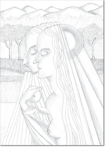 "PROGETTO - PROJECT ""JAN TOOROP"" DISEGNO ORIGINALE PER L'OPERA - ORIGINAL DRAWING FOR PAINTING / adam en eva / matita su carta - pencil on paper / 56 x 40 / 2016"