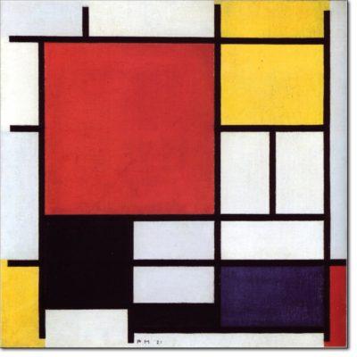00 - B130 /  Composizione con grande piano rosso, giallo nero grigio e blu - 1921