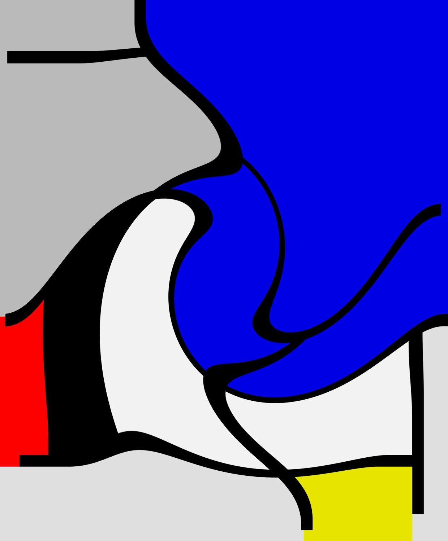 07 - B117 Composizione con grande piano blu / ELABORAZIONI