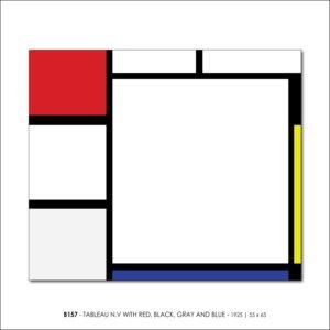 MONDRIAN B157 TABLEAU N.V WITH RED, BLACK, GRAY AND BLUE 1925 FRANCESCO VISALLI