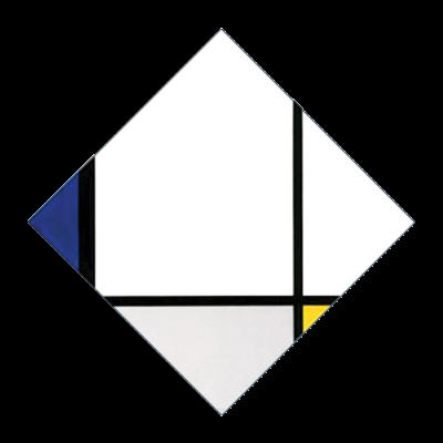 89 NEW - B165 / TABLEAU N.I - LOSANGA CON TRE LINEE E BLU, GRIGIO E GIALLO - 1925