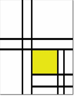 R07 - B242 COMPOSITION WITH DOUBLE LINES AND YELLOW - 1934