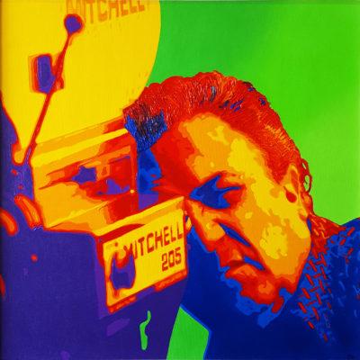 01 Federico Fellini Pop Portrait Olio su tela 50x50 2020 da una foto di Santi Visalli