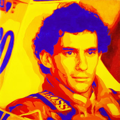05 Ayrton Senna Pop Portrait 1 Olio su tela 60x60 2020 da una foto di Pascal Rondeau
