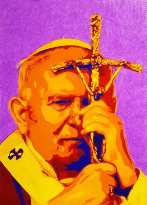 15 Papa Giovanni Paolo II Pop Portrait olio su tela 57x41 2020 2