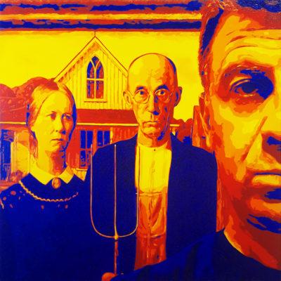21 Gaddi Gothic Sergio Gaddi Pop Portrait con American Gothic Grant Wood Art Institute Chicago olio su tela 70x70 2020