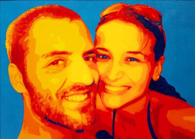 22 Veronica e Matteo Pop Portrait olio su tela 41x57 2020