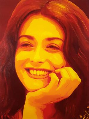 27 Valentina Lodovini Pop Portrait 2 Olio su tela 40x30 2020