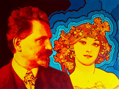 29 Alfons Mucha Pop Portrait olio su tela 60x80 2020
