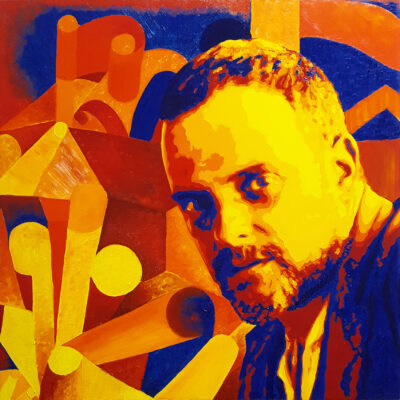 30 Paul Klee Pop Portrait con Houses with Flags olio su tela 60x60 2020