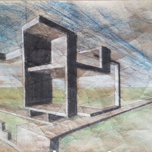 69 bozzetto 1 pennarelli e carboncino su carta crespa 35x73