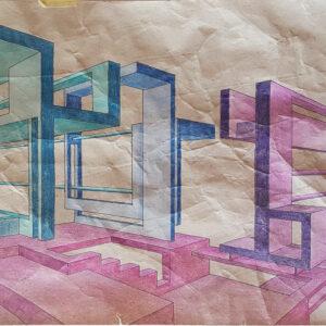 72 bozzetto 2 pennarello e matita su carta crespa 35x80